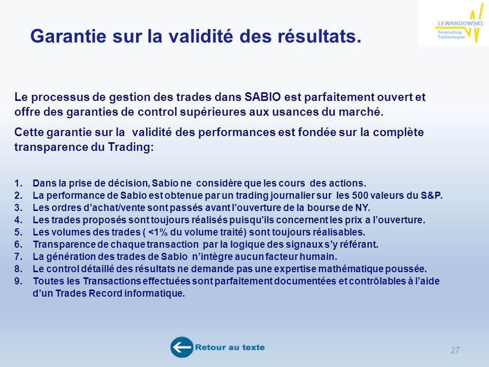 27 ANNEXE sur la démonstration sur la validité des résultats de SABIO.