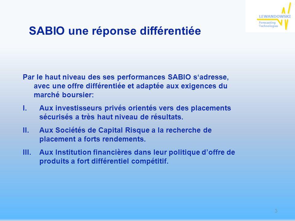 SABIO une réponse différentiée Par le haut niveau des ses performances SABIO sadresse, avec une offre différentiée et adaptée aux exigences du marché boursier: I.Aux investisseurs privés orientés vers des placements sécurisés a très haut niveau de résultats.