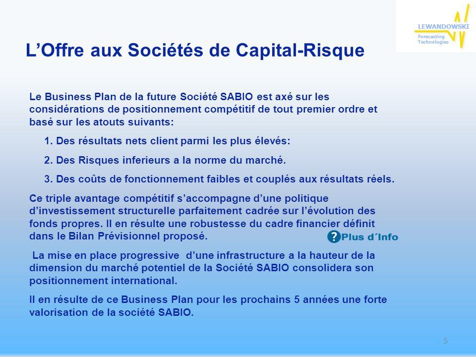 Le Business Plan de la future Société SABIO est axé sur les considérations de positionnement compétitif de tout premier ordre et basé sur les atouts suivants: 1.