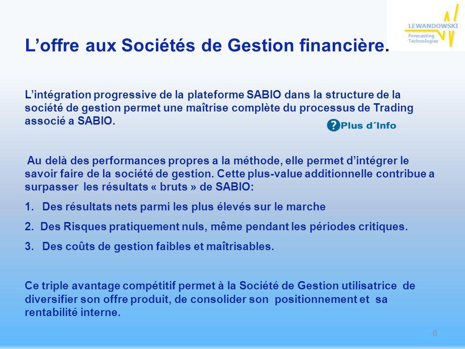 Lintégration progressive de la plateforme SABIO dans la structure de la société de gestion permet une maîtrise complète du processus de Trading associé a SABIO.
