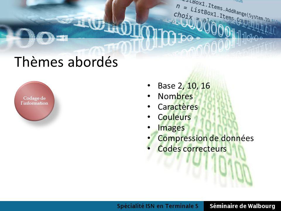 Spécialité ISN en Terminale SSéminaire de Walbourg Thèmes abordés Base 2, 10, 16 Nombres Caractères Couleurs Images Compression de données Codes corre