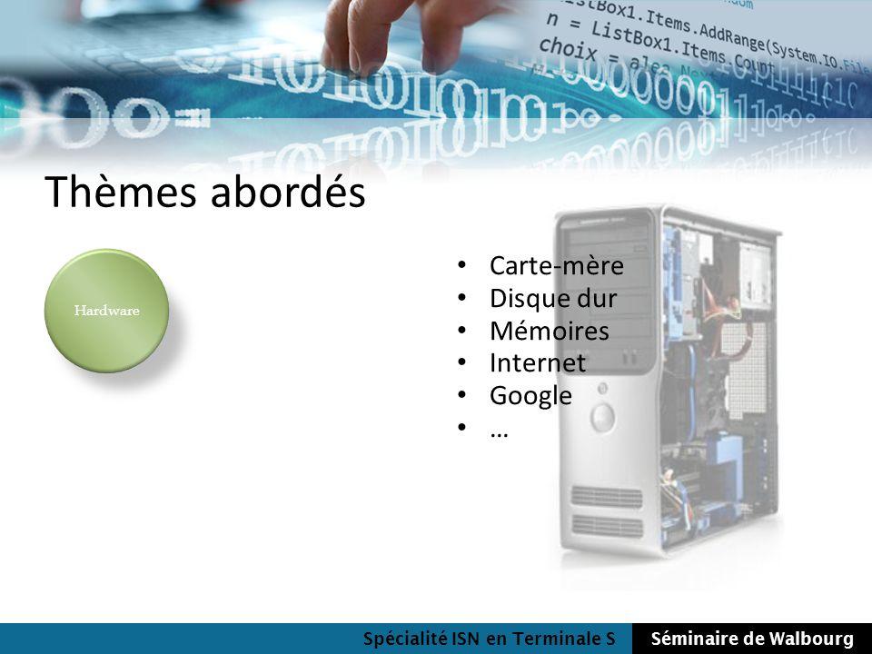 Spécialité ISN en Terminale SSéminaire de Walbourg Thèmes abordés Carte-mère Disque dur Mémoires Internet Google … Hardware