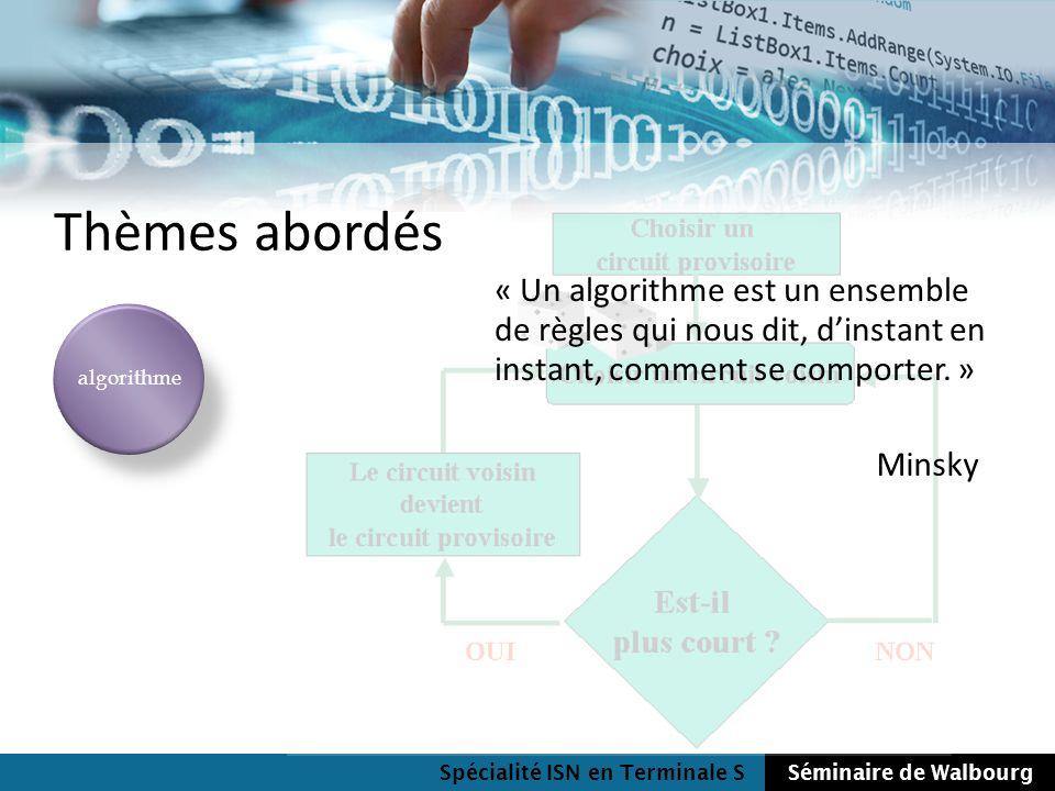 Spécialité ISN en Terminale SSéminaire de Walbourg Thèmes abordés algorithme « Un algorithme est un ensemble de règles qui nous dit, dinstant en insta