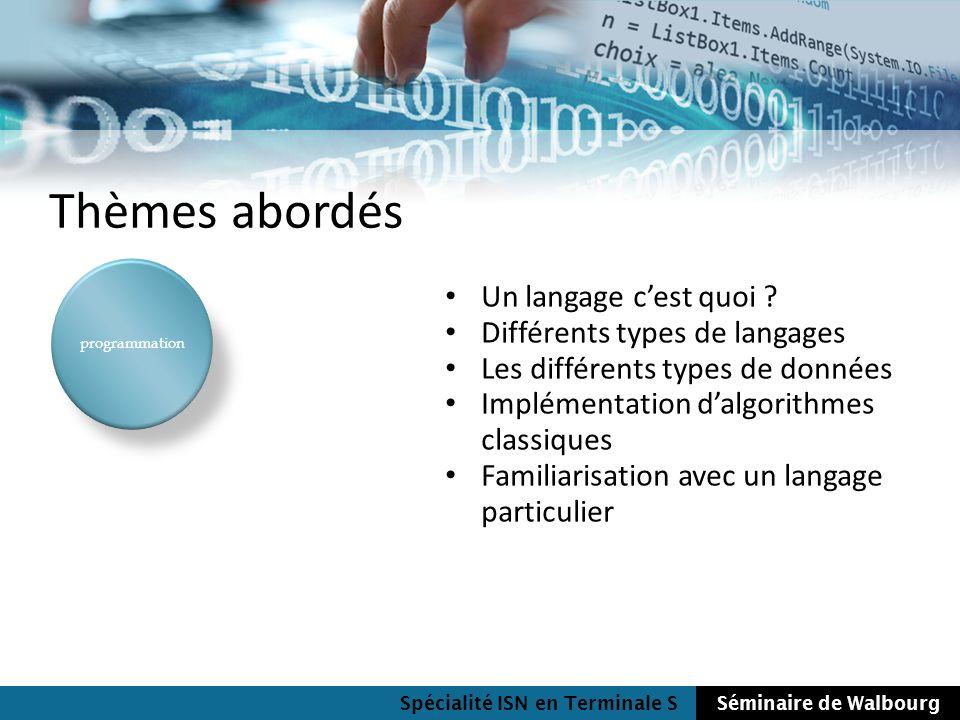 Spécialité ISN en Terminale SSéminaire de Walbourg Thèmes abordés programmation Un langage cest quoi ? Différents types de langages Les différents typ