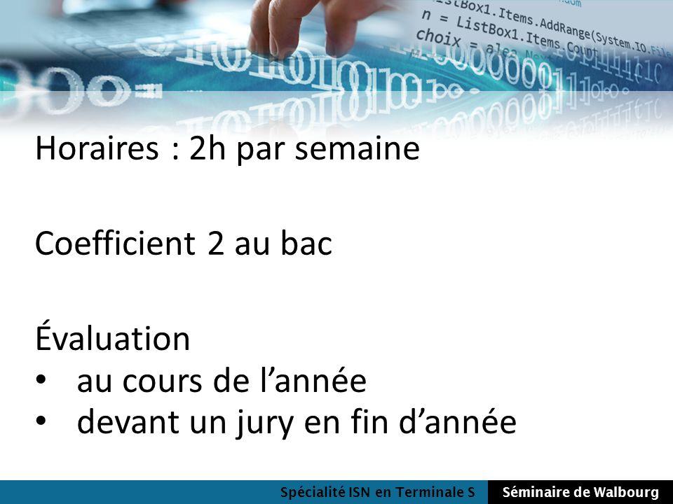 Spécialité ISN en Terminale SSéminaire de Walbourg Horaires : 2h par semaine Coefficient 2 au bac Évaluation au cours de lannée devant un jury en fin