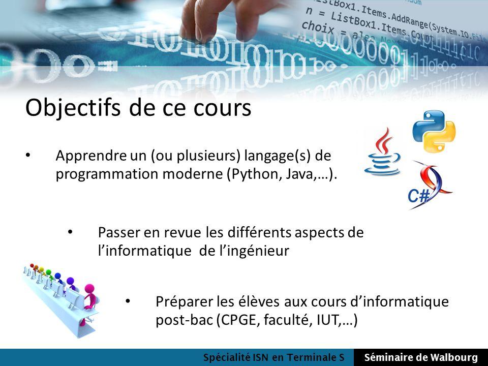 Spécialité ISN en Terminale SSéminaire de Walbourg Objectifs de ce cours Apprendre un (ou plusieurs) langage(s) de programmation moderne (Python, Java