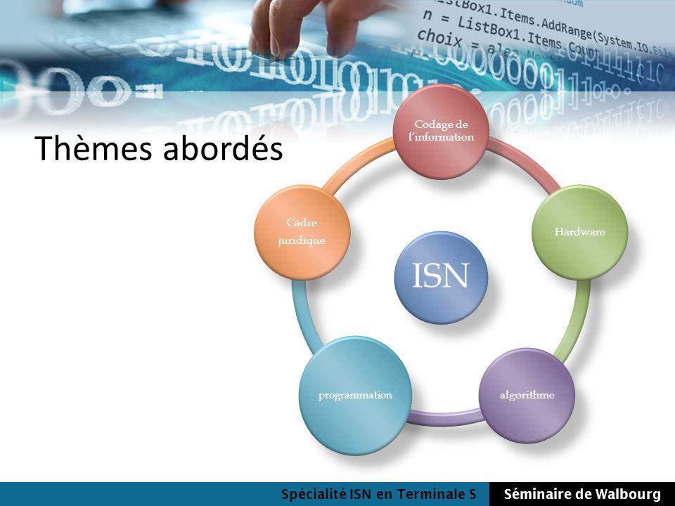 Spécialité ISN en Terminale SSéminaire de Walbourg Thèmes abordés Base 2, 10, 16 Nombres Caractères Couleurs Images Compression de données Codes correcteurs Codage de linformation