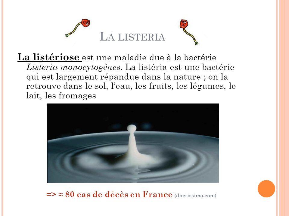 L A LISTERIA La listériose est une maladie due à la bactérie Listeria monocytogènes. La listéria est une bactérie qui est largement répandue dans la n