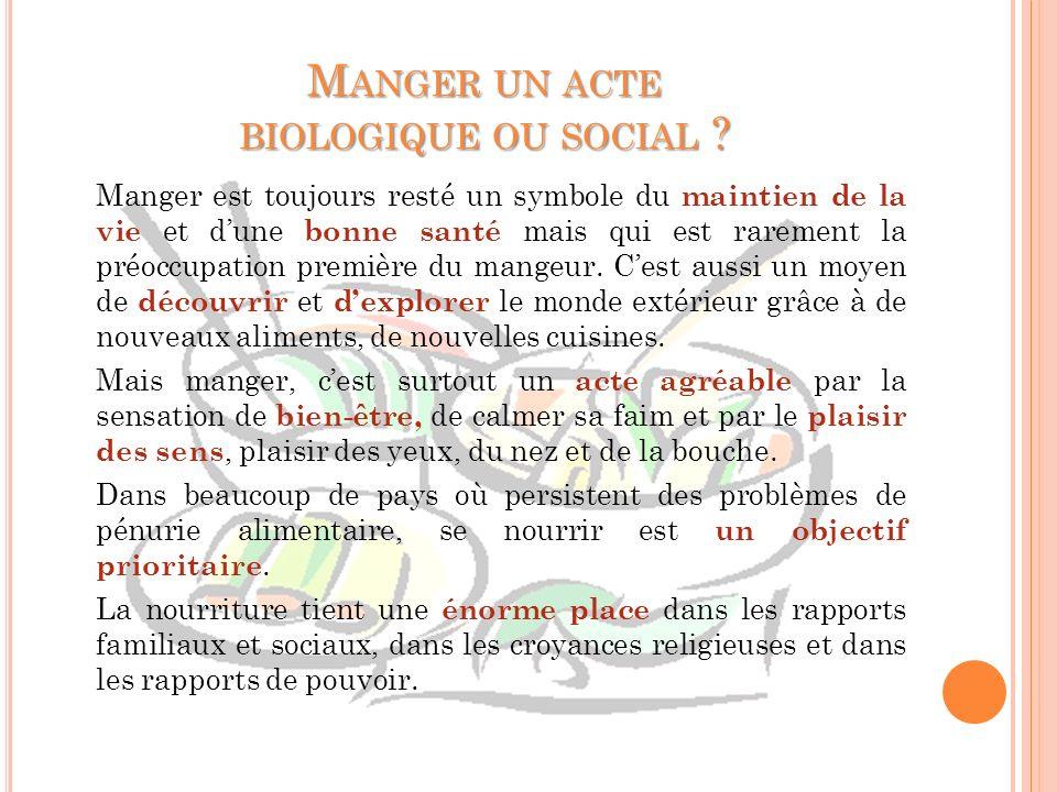 MANGER UN ACTE BIOLOGIQUE OU SOCIAL ? Manger est toujours resté un symbole du maintien de la vie et dune bonne santé mais qui est rarement la préoccup