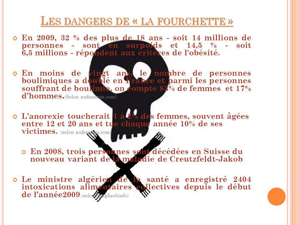 L ES DANGERS DE « LA FOURCHETTE » En 2009, 32 % des plus de 18 ans - soit 14 millions de personnes - sont en surpoids et 14,5 % - soit 6,5 millions -