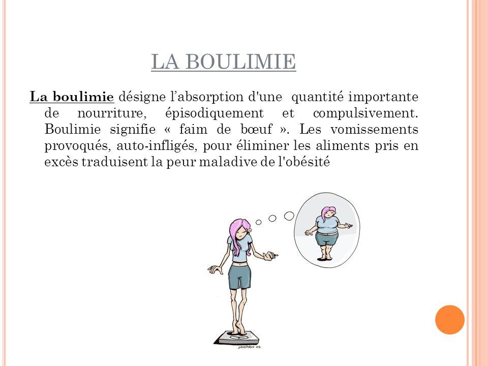 LA BOULIMIE La boulimie désigne labsorption d'une quantité importante de nourriture, épisodiquement et compulsivement. Boulimie signifie « faim de bœu