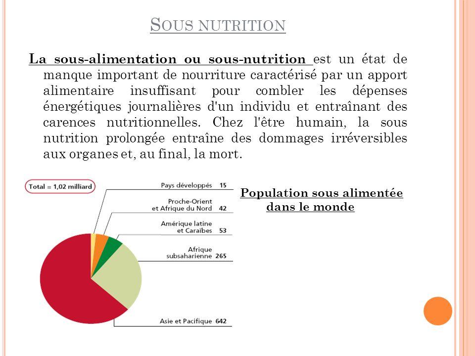 S OUS NUTRITION La sous-alimentation ou sous-nutrition est un état de manque important de nourriture caractérisé par un apport alimentaire insuffisant