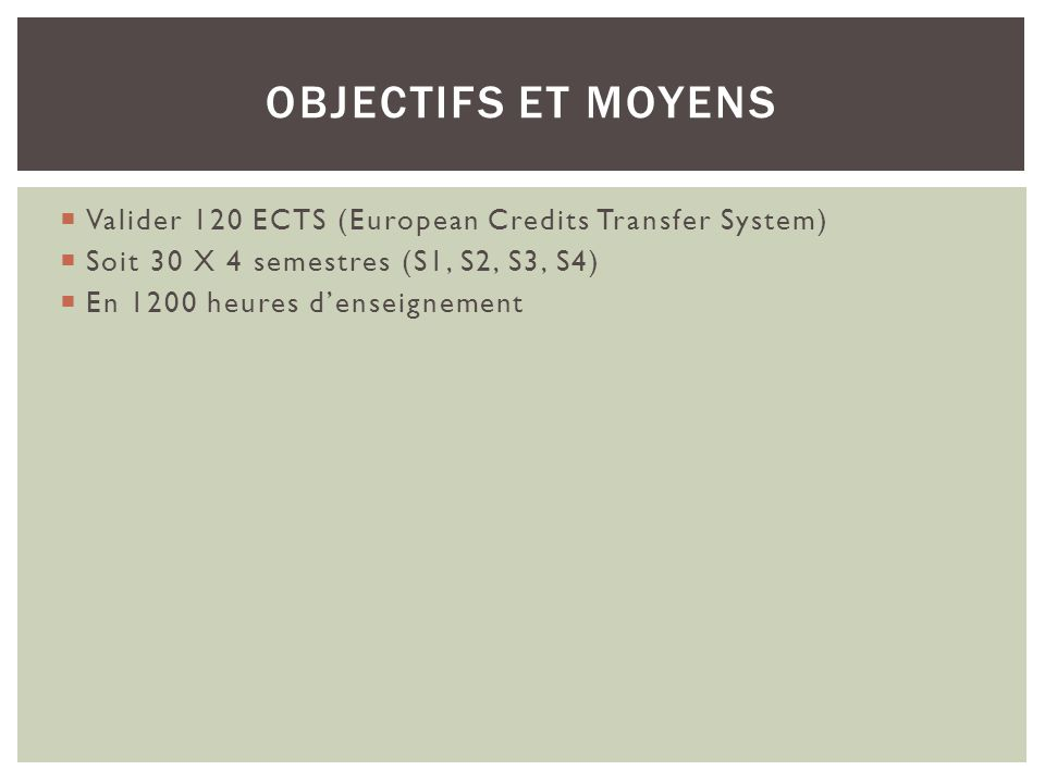Valider 120 ECTS (European Credits Transfer System) Soit 30 X 4 semestres (S1, S2, S3, S4) En 1200 heures denseignement OBJECTIFS ET MOYENS