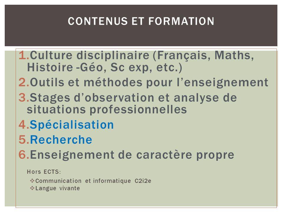 1.Culture disciplinaire (Français, Maths, Histoire -Géo, Sc exp, etc.) 2.Outils et méthodes pour lenseignement 3.Stages dobservation et analyse de sit