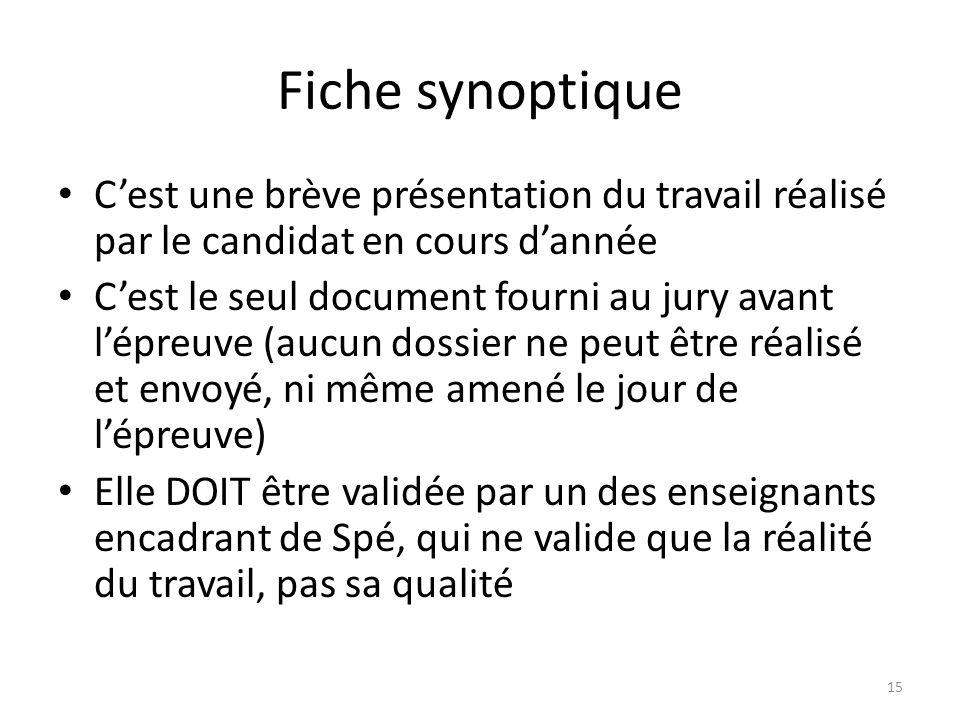 Fiche synoptique Cest une brève présentation du travail réalisé par le candidat en cours dannée Cest le seul document fourni au jury avant lépreuve (a