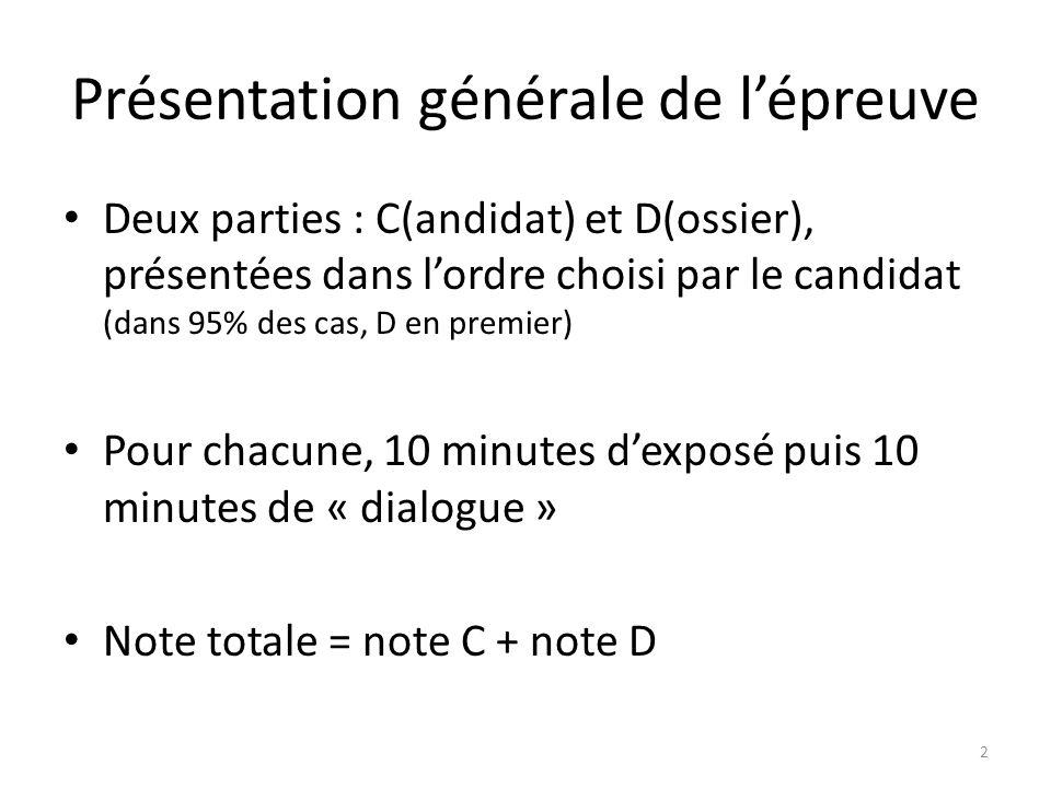 Présentation générale de lépreuve Deux parties : C(andidat) et D(ossier), présentées dans lordre choisi par le candidat (dans 95% des cas, D en premie