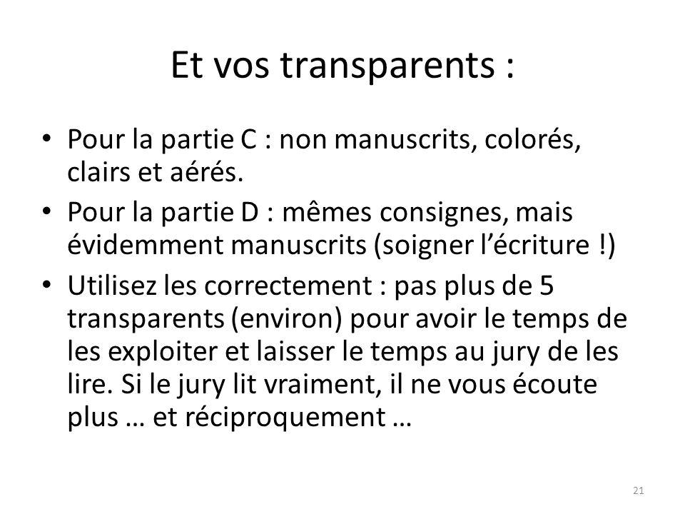 Et vos transparents : Pour la partie C : non manuscrits, colorés, clairs et aérés. Pour la partie D : mêmes consignes, mais évidemment manuscrits (soi