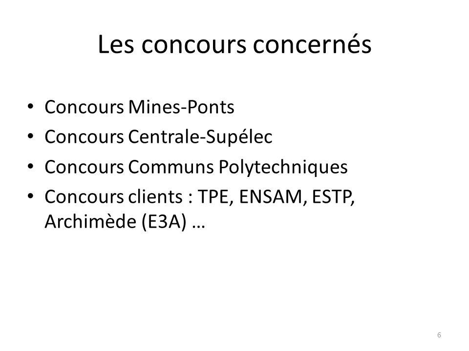 Les concours concernés Concours Mines-Ponts Concours Centrale-Supélec Concours Communs Polytechniques Concours clients : TPE, ENSAM, ESTP, Archimède (