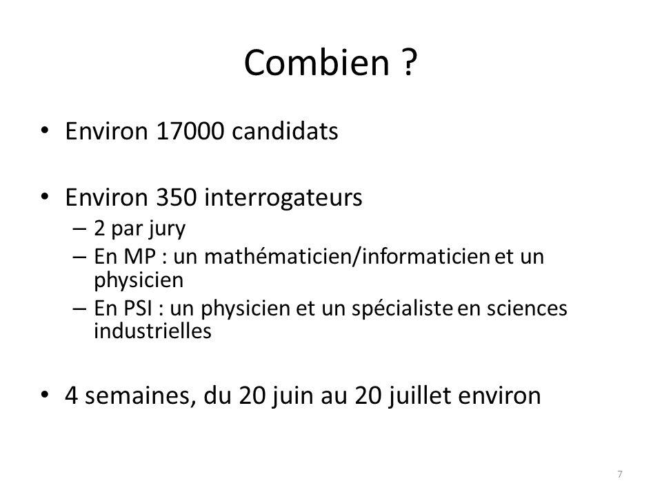 Combien ? Environ 17000 candidats Environ 350 interrogateurs – 2 par jury – En MP : un mathématicien/informaticien et un physicien – En PSI : un physi