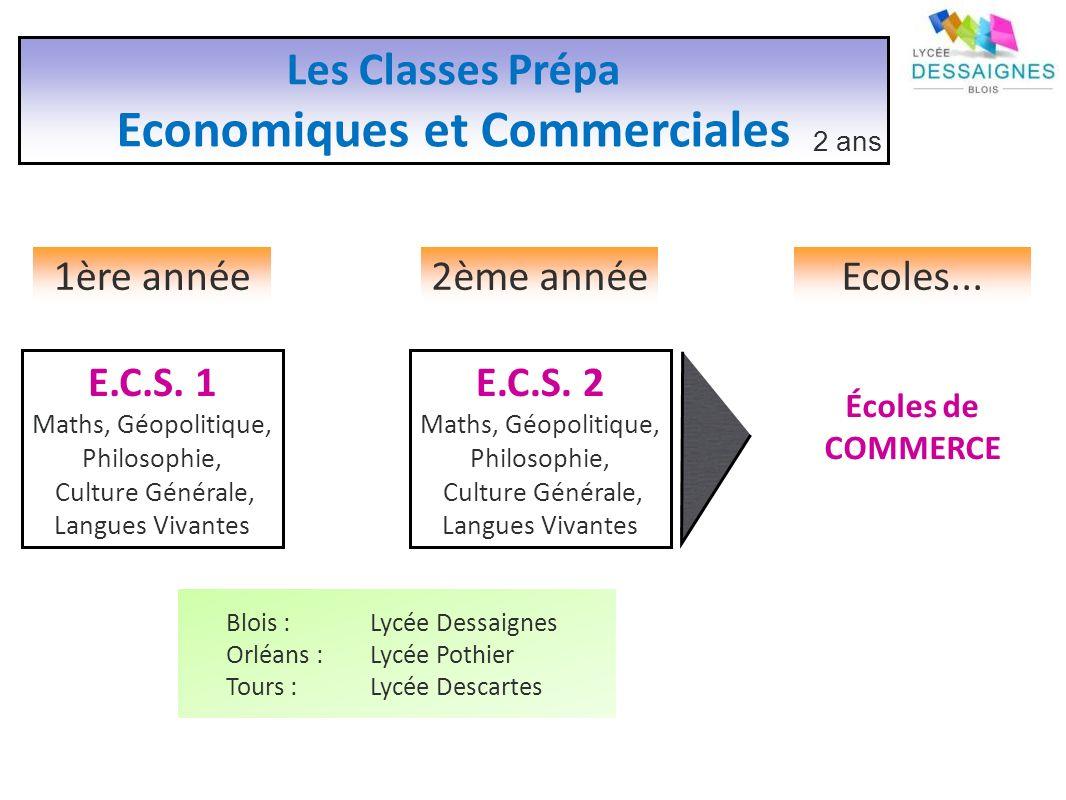 Les Classes Prépa Economiques et Commerciales 2 ans 1ère année2ème annéeEcoles...