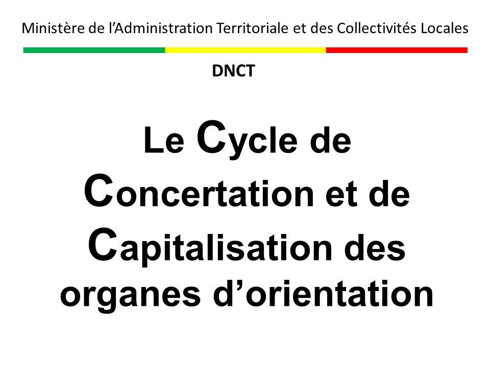 Le C ycle de C oncertation et de C apitalisation des organes dorientation Ministère de lAdministration Territoriale et des Collectivités Locales DNCT