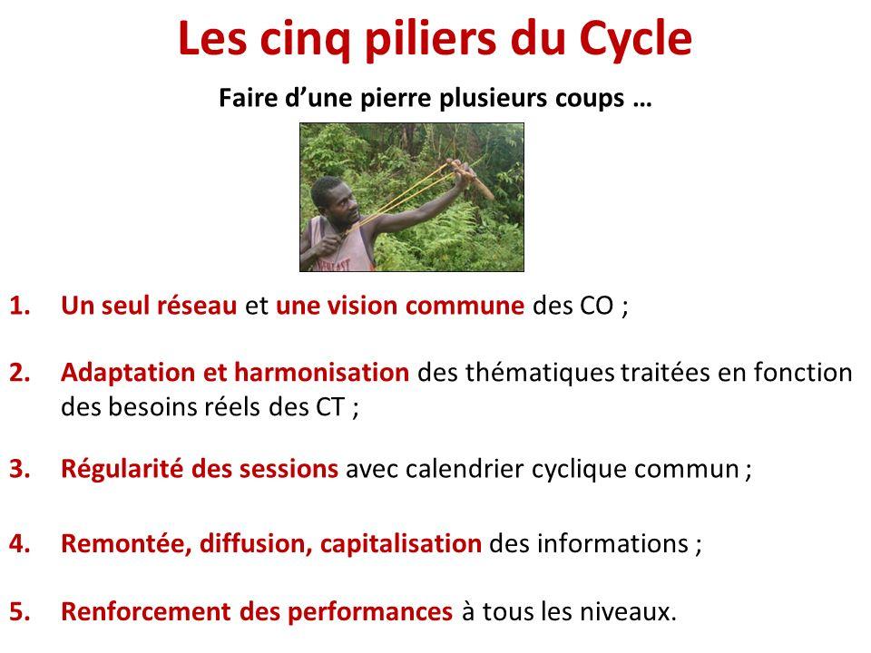 Les cinq piliers du Cycle 1.Un seul réseau et une vision commune des CO ; 2.Adaptation et harmonisation des thématiques traitées en fonction des besoi