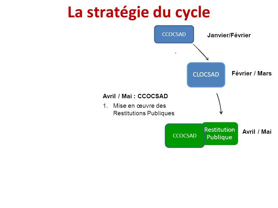 Janvier Février / Mars Avril / Mai JuinJuillet Août / Septembre Octobre / Décembre Avril / Mai : CCOCSAD 1.Mise en œuvre des Restitutions Publiques La