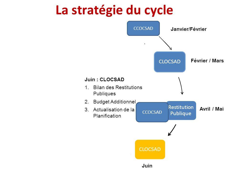Janvier Février / Mars Avril / Mai JuinJuillet Août / Septembre Octobre / Décembre La stratégie du cycle CCOCSAD Janvier/Février Juin : CLOCSAD 1.Bila