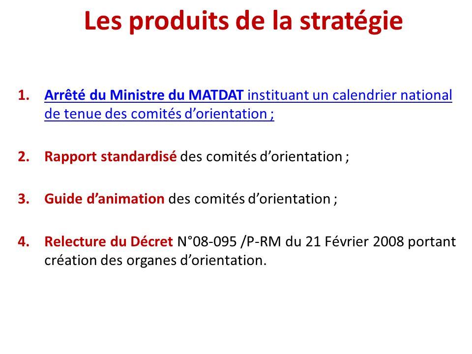 Les produits de la stratégie 1.Arrêté du Ministre du MATDAT instituant un calendrier national de tenue des comités dorientation ;Arrêté du Ministre du