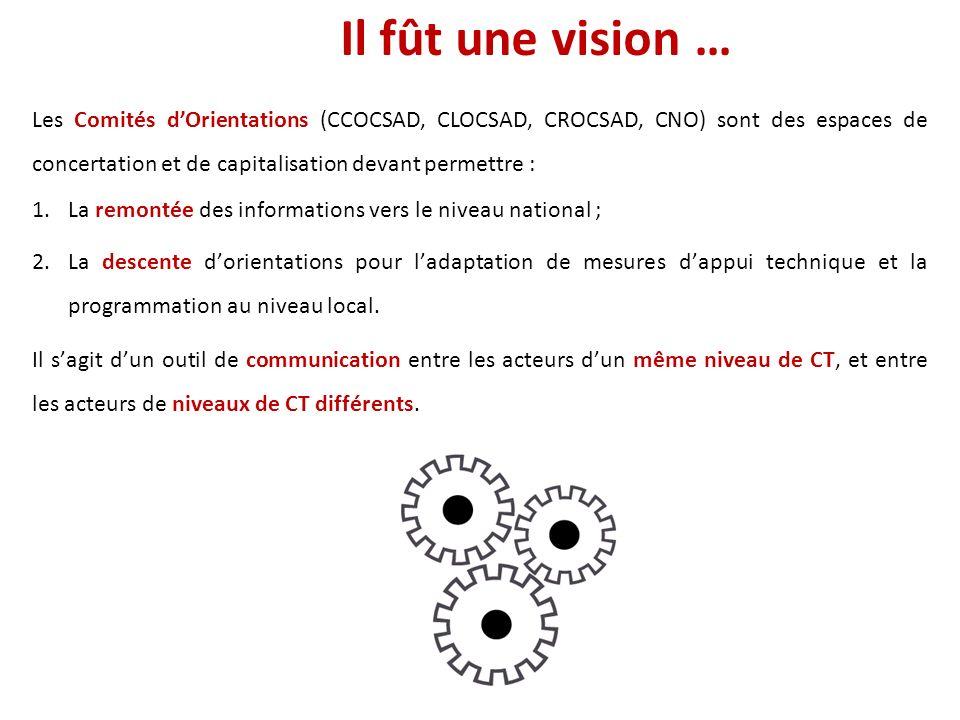 Il fût une vision … Les Comités dOrientations (CCOCSAD, CLOCSAD, CROCSAD, CNO) sont des espaces de concertation et de capitalisation devant permettre