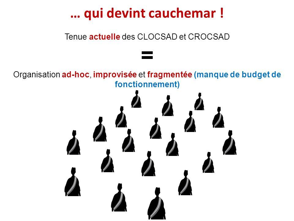… qui devint cauchemar ! Tenue actuelle des CLOCSAD et CROCSAD = Organisation ad-hoc, improvisée et fragmentée (manque de budget de fonctionnement)