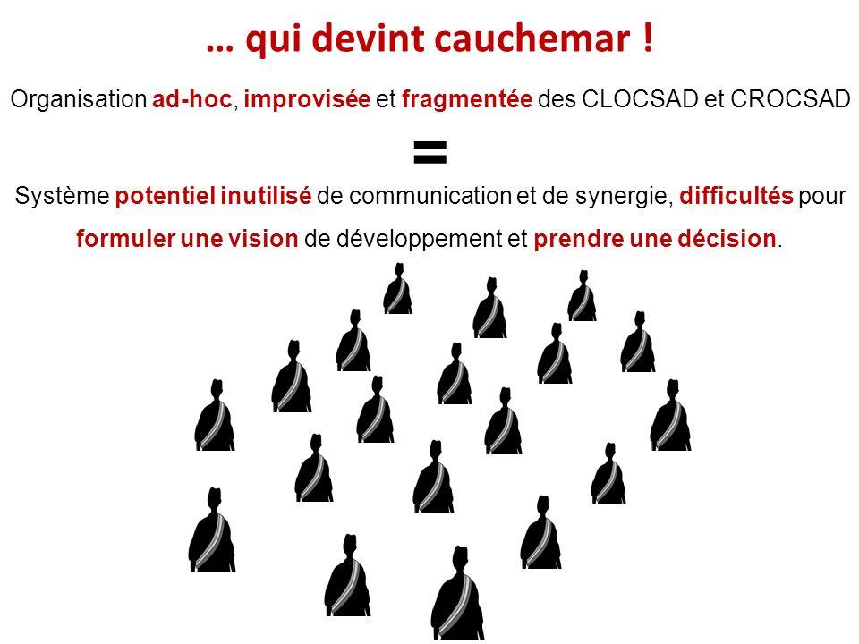 Organisation ad-hoc, improvisée et fragmentée des CLOCSAD et CROCSAD = Système potentiel inutilisé de communication et de synergie, difficultés pour f