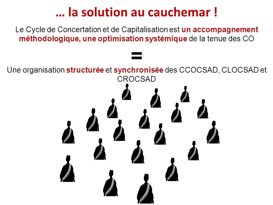Le Cycle de Concertation et de Capitalisation est un accompagnement méthodologique, une optimisation systémique de la tenue des CO = Une organisation