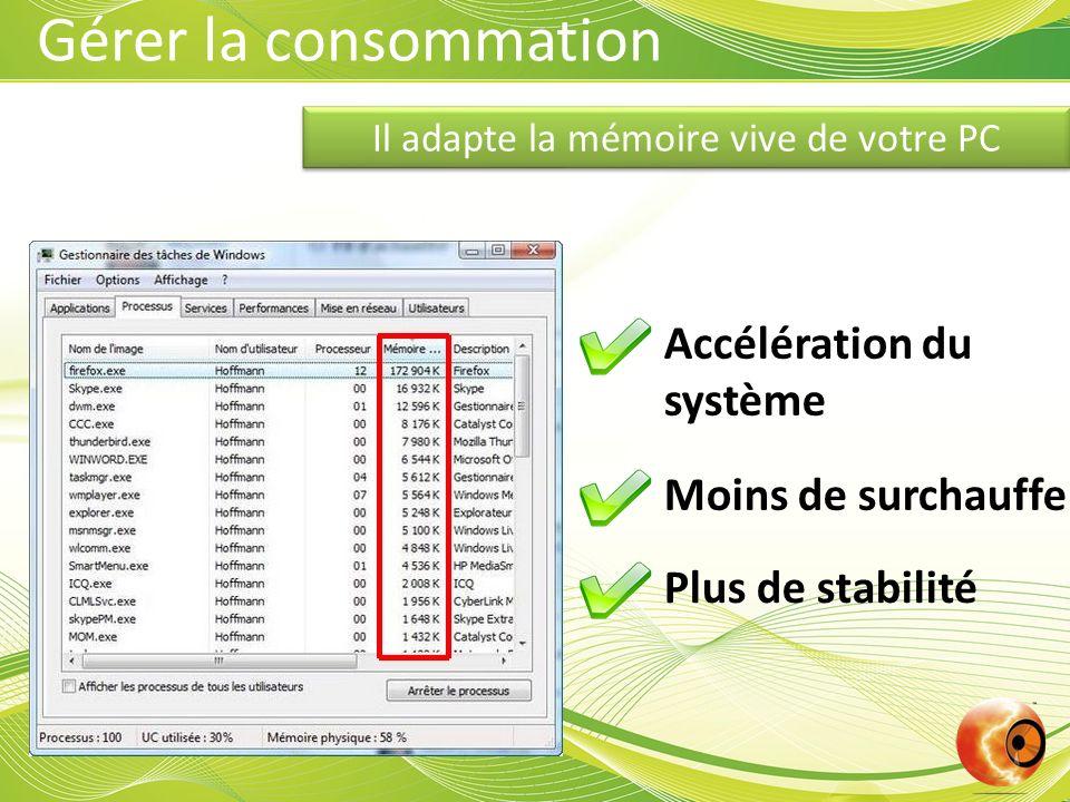Il adapte la mémoire vive de votre PC Accélération du système Moins de surchauffe Plus de stabilité Gérer la consommation