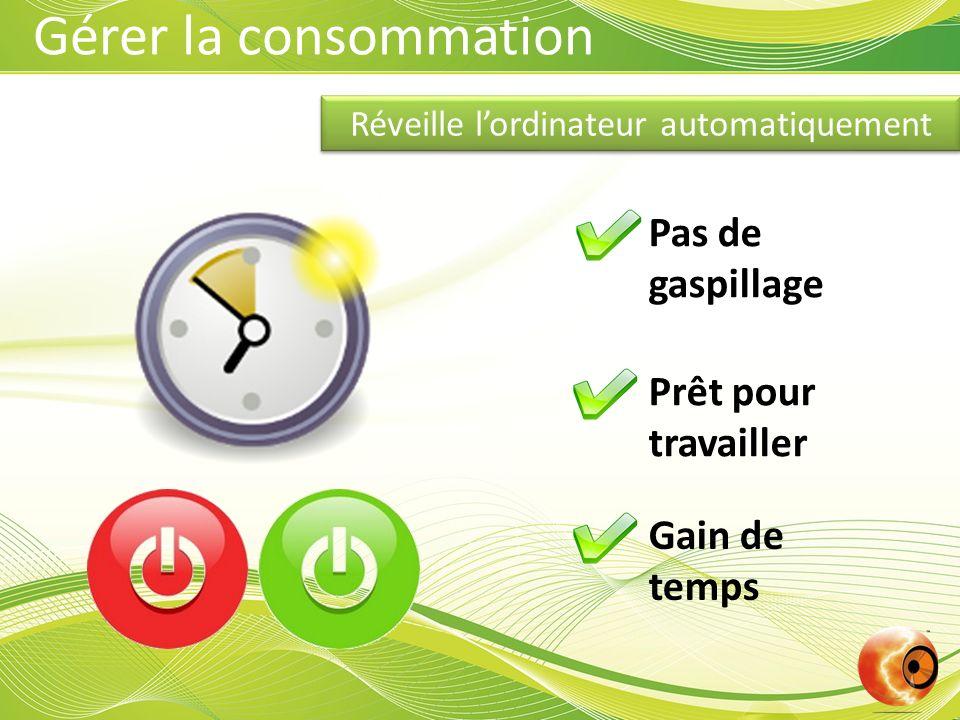 Réveille lordinateur automatiquement Pas de gaspillage Prêt pour travailler Gain de temps Gérer la consommation