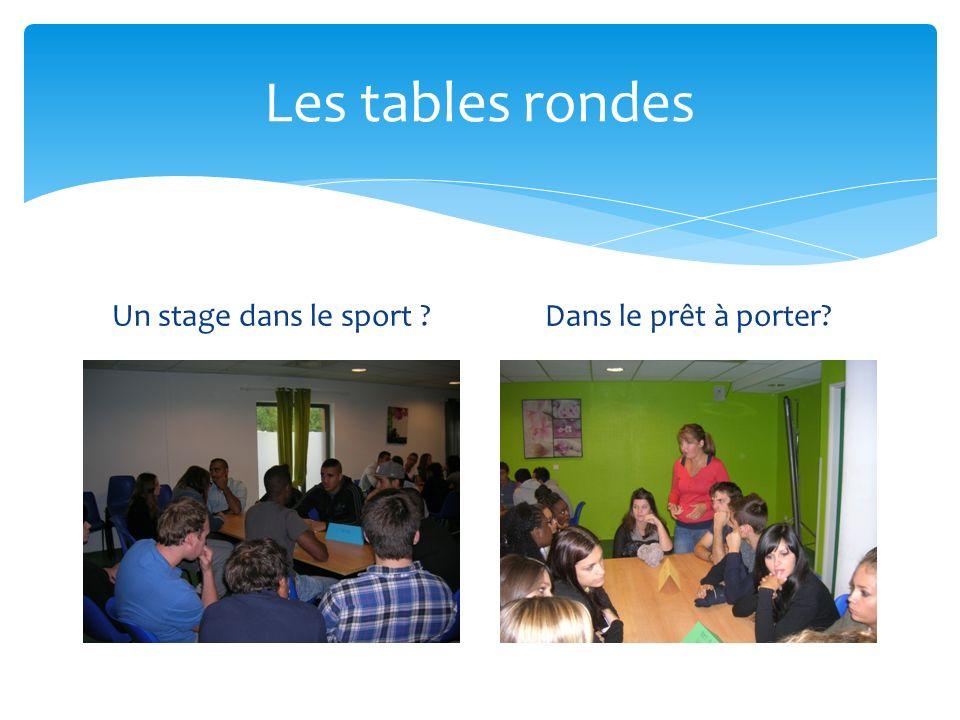 Les tables rondes Un stage dans le sport Dans le prêt à porter