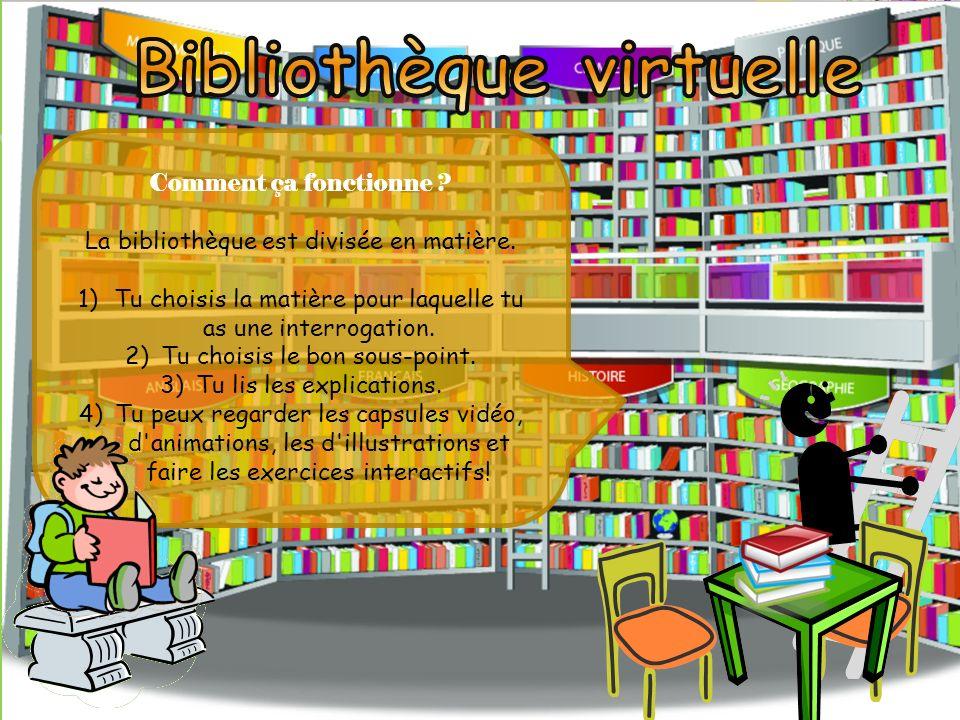 La bibliothèque dAllô prof est une immense encyclopédie. Tu y retrouve les matières du primaire et du secondaire. Il y a plus de 6000 notions ! Et 700
