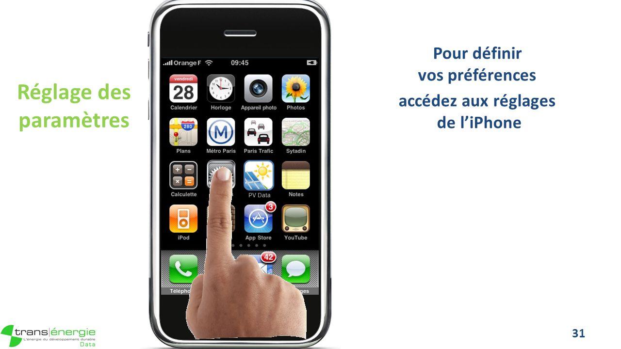 Réglage des paramètres Pour définir vos préférences accédez aux réglages de liPhone 31 PV Data