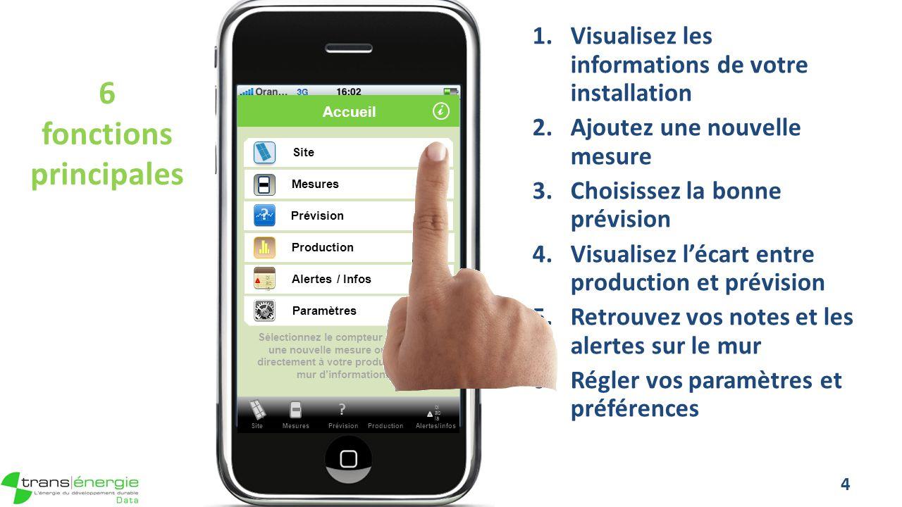 Réglage des paramètres 35 PV Data Il est indispensable davoir ouvert un compte sur transenergiedata.eu avant dutiliser lapplication sur votre téléphone mobile.