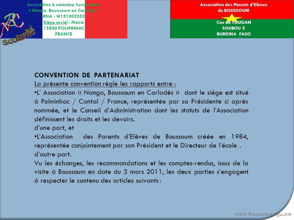 Association à caractère humanitaire « Nanga, Boussoum en Carladès » RNA : W151003553 Siège social : Mairie 15800 POLMINHAC FRANCE www.boussoum-nanga.c
