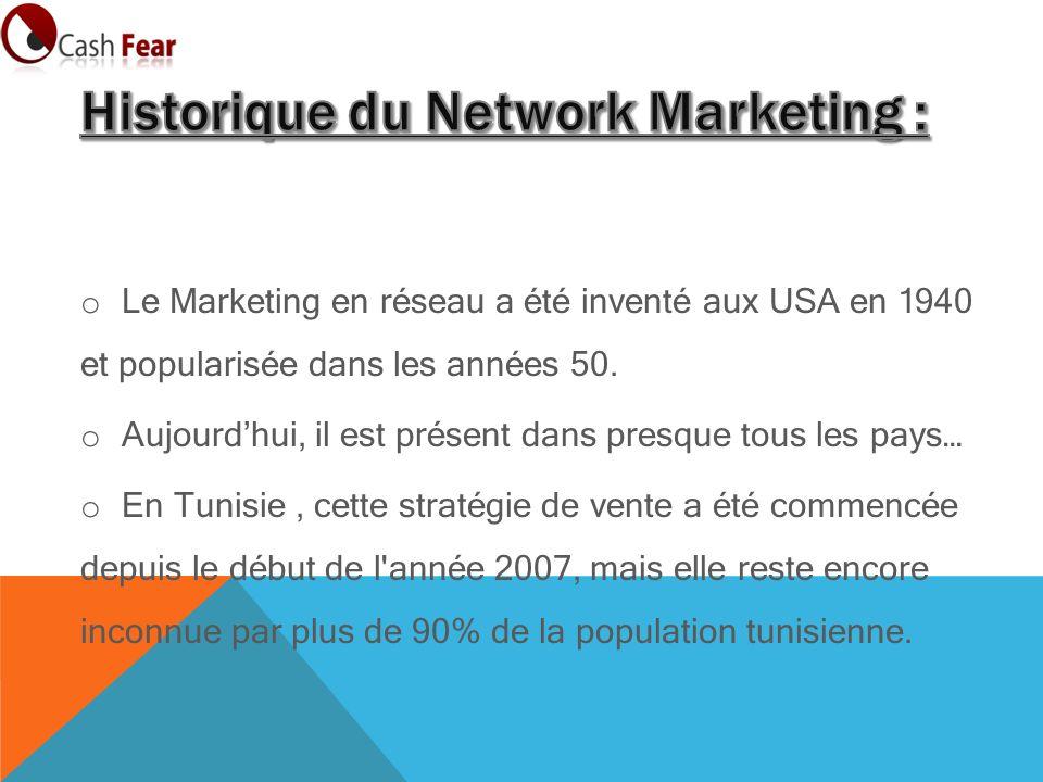 o Le Marketing en réseau a été inventé aux USA en 1940 et popularisée dans les années 50.