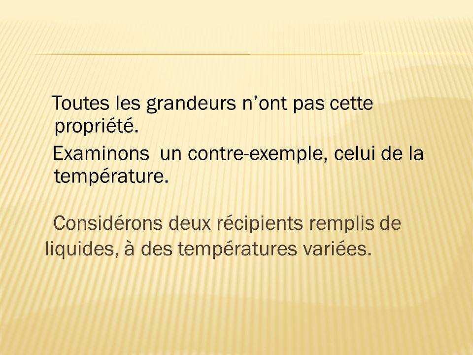 Considérons deux récipients remplis de liquides, à des températures variées. Toutes les grandeurs nont pas cette propriété. Examinons un contre-exempl
