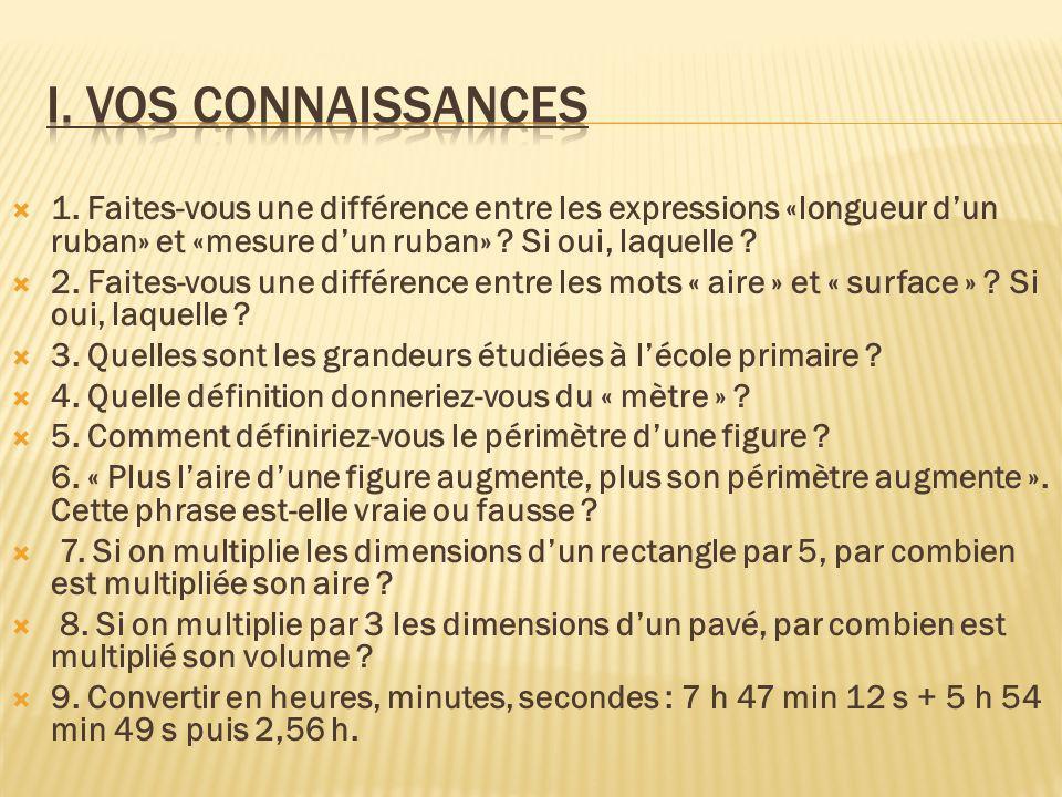 1. Faites-vous une différence entre les expressions «longueur dun ruban» et «mesure dun ruban» ? Si oui, laquelle ? 2. Faites-vous une différence entr