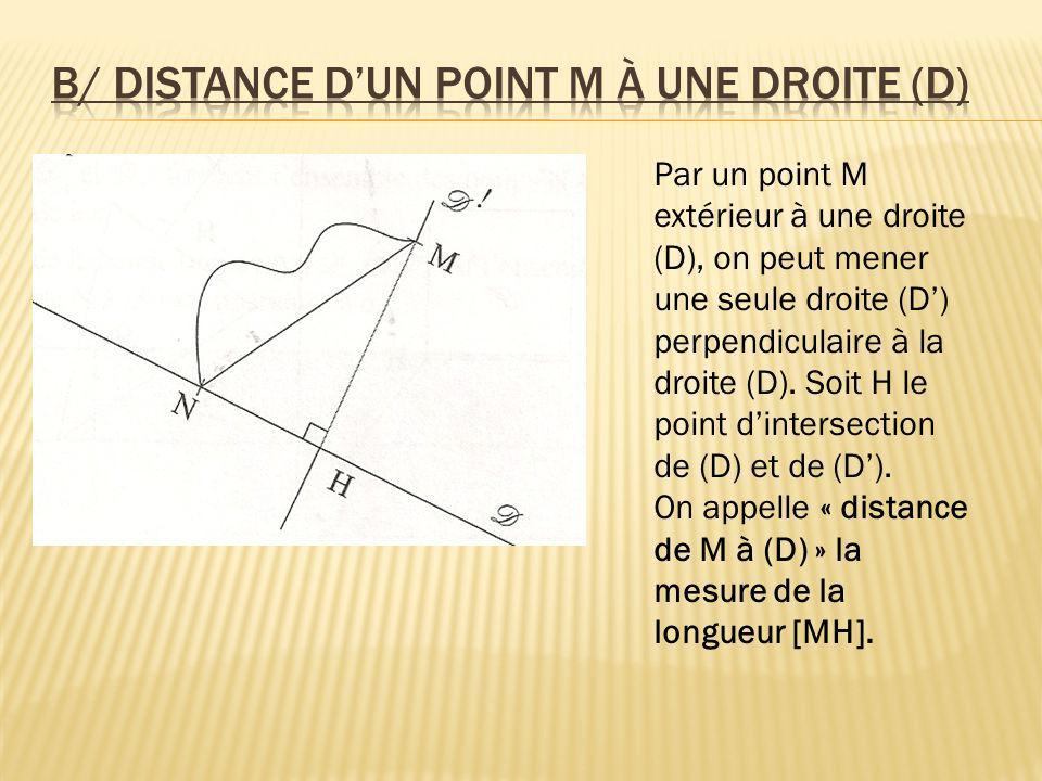Par un point M extérieur à une droite (D), on peut mener une seule droite (D) perpendiculaire à la droite (D). Soit H le point dintersection de (D) et