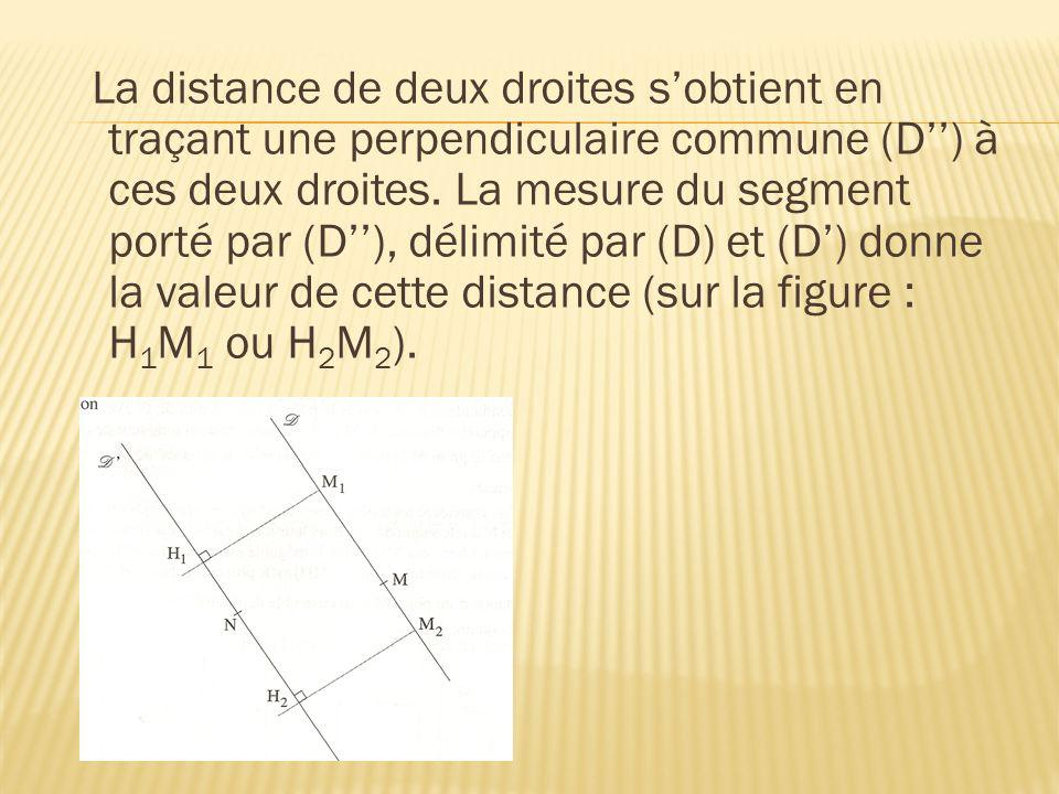 La distance de deux droites sobtient en traçant une perpendiculaire commune (D) à ces deux droites. La mesure du segment porté par (D), délimité par (