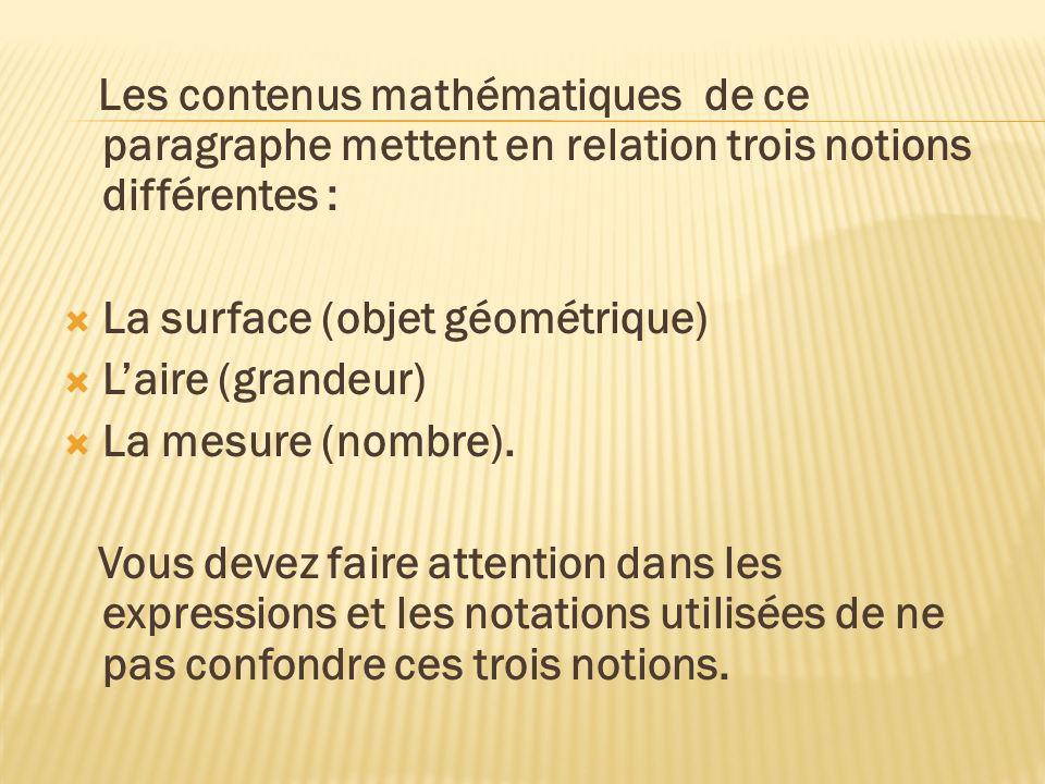Les contenus mathématiques de ce paragraphe mettent en relation trois notions différentes : La surface (objet géométrique) Laire (grandeur) La mesure