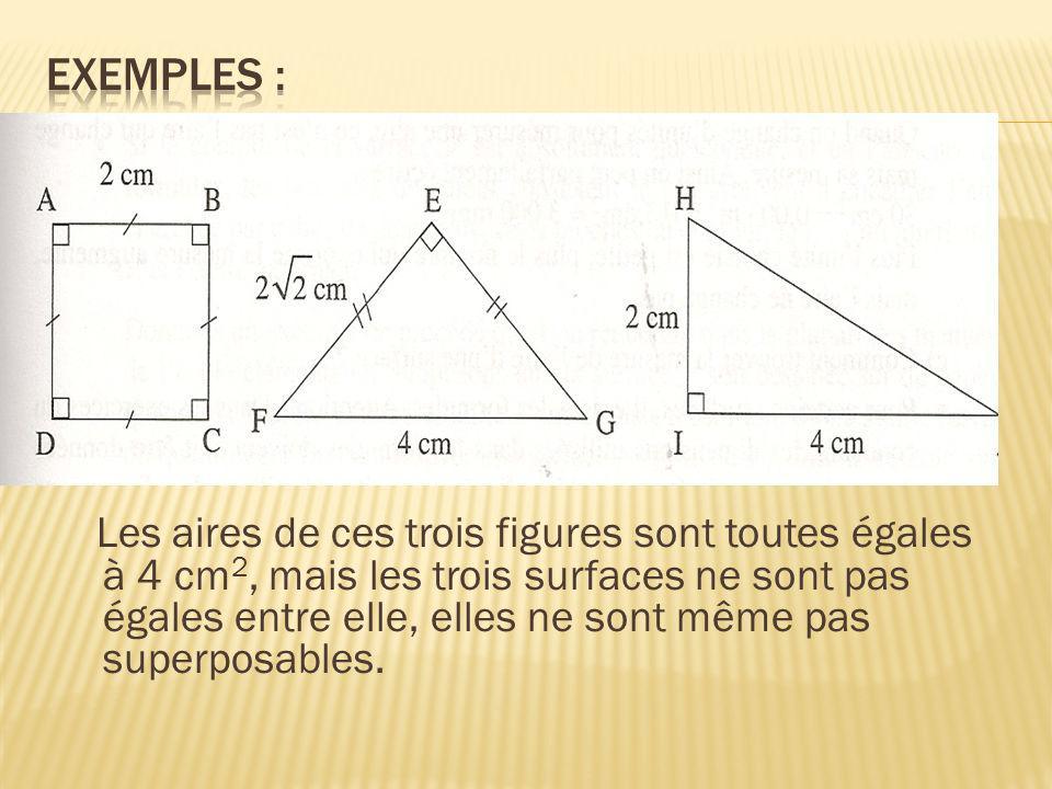 Les aires de ces trois figures sont toutes égales à 4 cm 2, mais les trois surfaces ne sont pas égales entre elle, elles ne sont même pas superposable