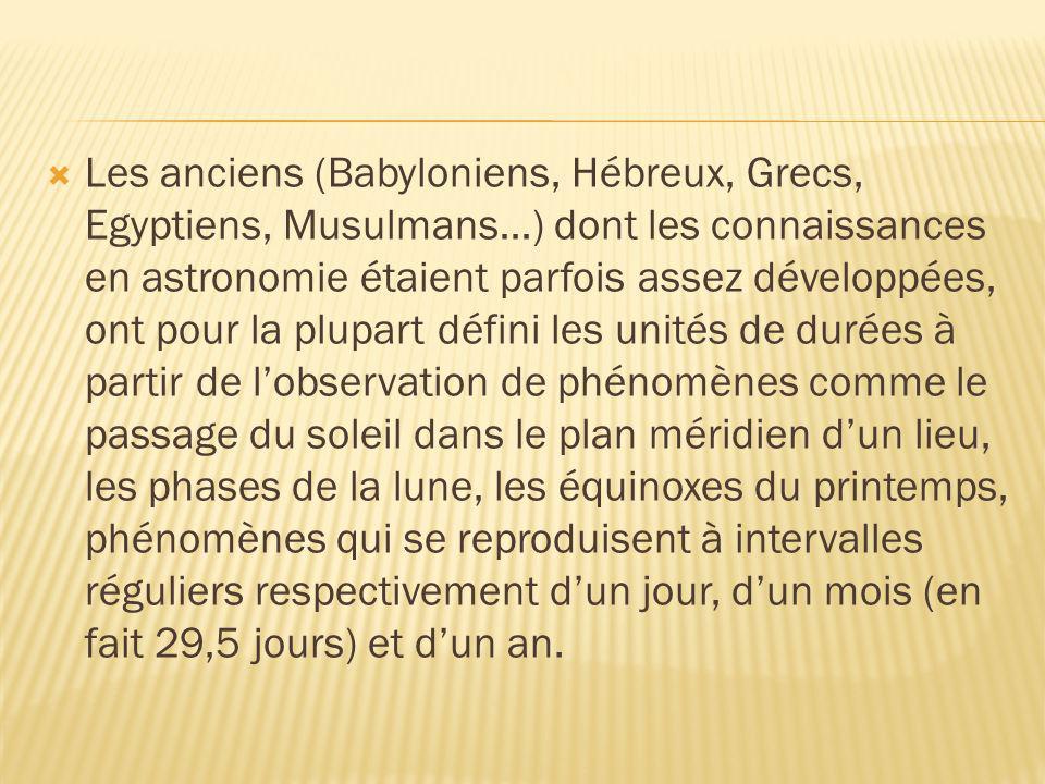 Les anciens (Babyloniens, Hébreux, Grecs, Egyptiens, Musulmans…) dont les connaissances en astronomie étaient parfois assez développées, ont pour la p