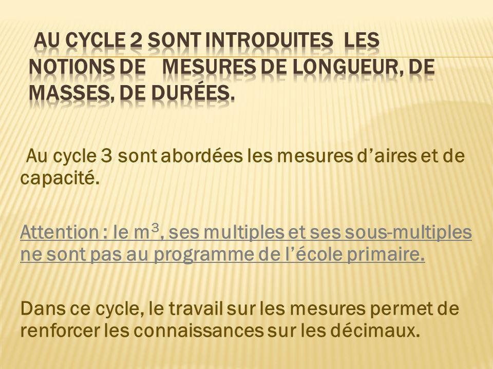 Au cycle 3 sont abordées les mesures daires et de capacité. Attention : le m 3, ses multiples et ses sous-multiples ne sont pas au programme de lécole