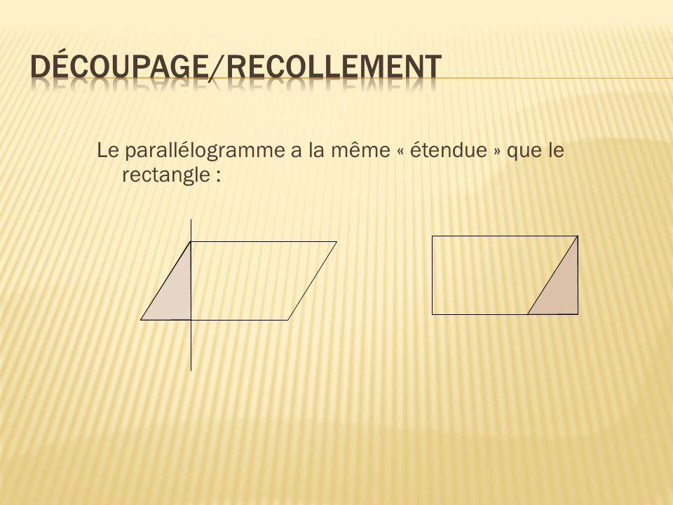 Le parallélogramme a la même « étendue » que le rectangle :